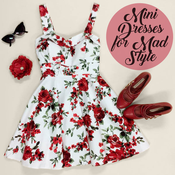 Mini Dresses for Mad Style - Ixia Red Floral Mini, Heart of Haute Diva's Delight Hair Flower, BAIT Hadley Heels, Black Cateye Sunglasses