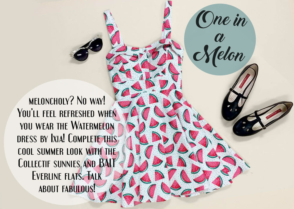 One in a Melon - Ixia Watermelon Dress, Collective Sunglasses, BAIT Everyone Flats