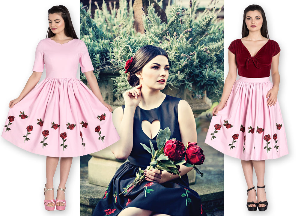 Hell Bunny Rosa Rossa Skirt, 50s Dress, and Mini dress in Pink and Black