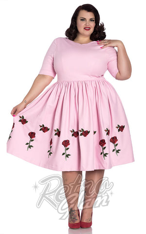 Hell Bunny Rosa Rossa 50's Dress in Pink Plus size