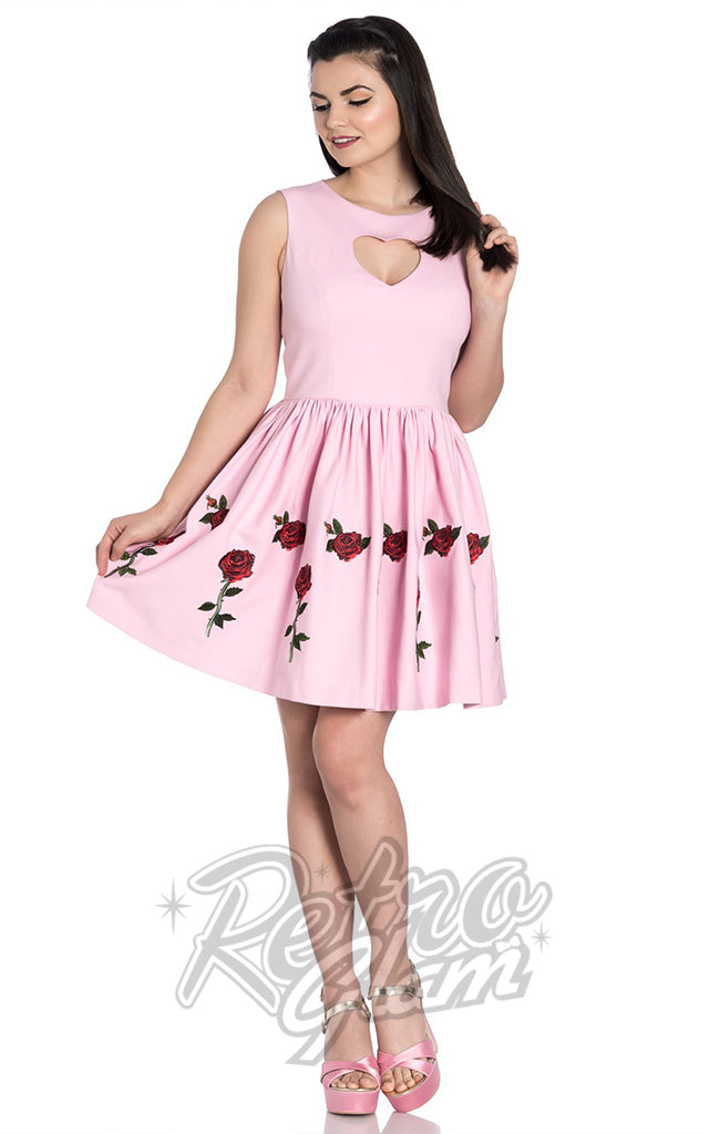 Hell Bunny Rosa Rossa Mini Dress in Pink