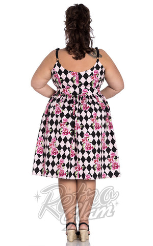Hell Bunny Harlequin 50's Dress Back curvy