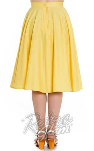 Hell Bunny Paula 50s Skirt in Yellow Back