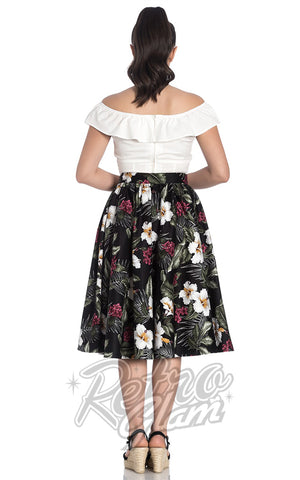 Hell Bunny Tahiti 50s Skirt in Black back