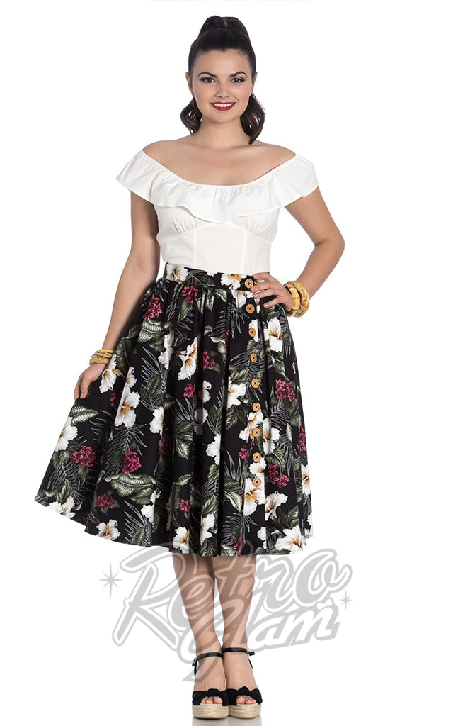 Hell Bunny Tahiti 50s Skirt in Black
