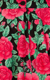 Roses fabric back zipper