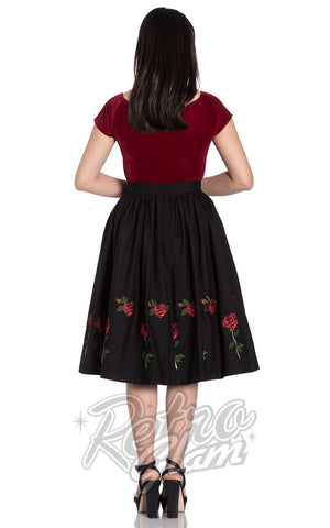 Hell Bunny Rosa Rossa 50s Skirt in Black back