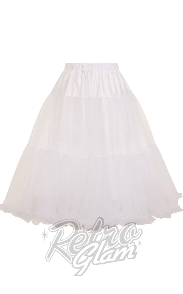 Hell Bunny White Polly 2 Tier Long Petticoat (Crinoline)