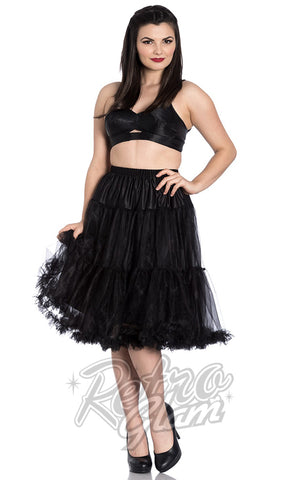 Hell Bunny Black Polly 2 Tier Long Petticoat (Crinoline)