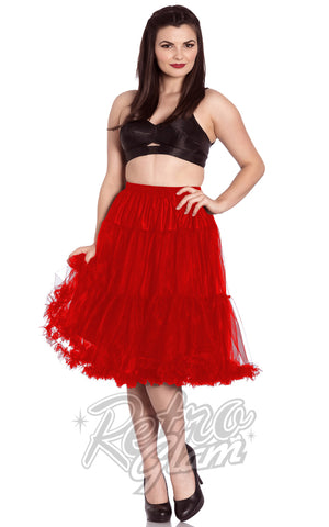 Hell Bunny Red Polly 2 Tier Long Petticoat (Crinoline)
