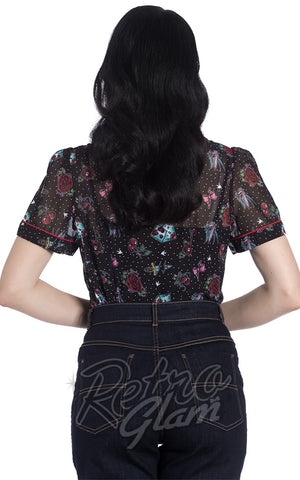 Hell Bunny Stevie Rockabilly Blouse back