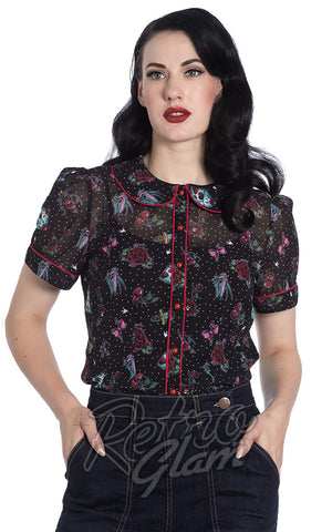 Hell Bunny Stevie Rockabilly Blouse