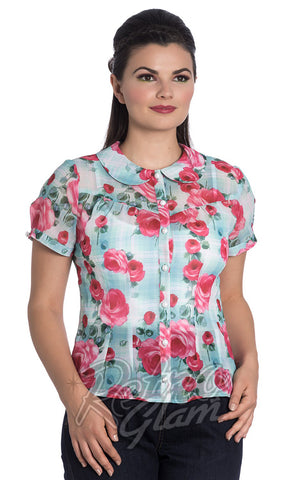 Hell Bunny Roses Suzannah Blouse