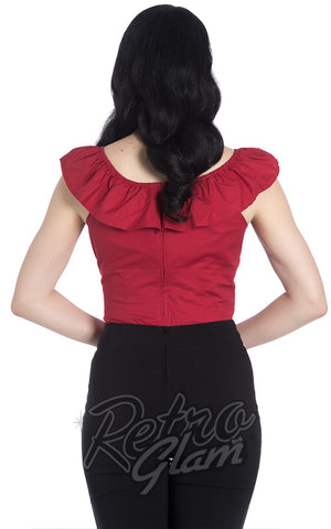 Hell Bunny Rio Top in Dark Red Back