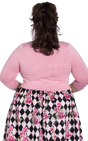 Hell Bunny Maggie Bolero in Candy Pink Plus size back