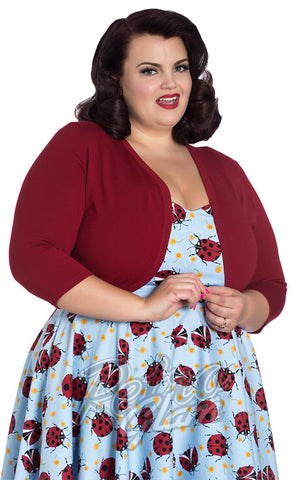 Hell Bunny Maggie Bolero in Red plus size