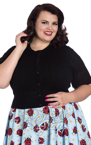 Hell Bunny Loretta Cardigan in Black Plus Sized