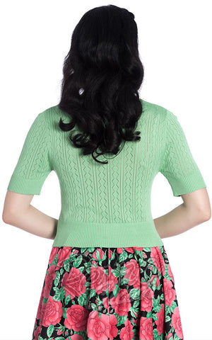 Hell Bunny Loretta Cardigan in Mint Green back