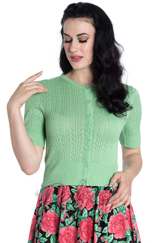 Hell Bunny Loretta Cardigan in Mint Green