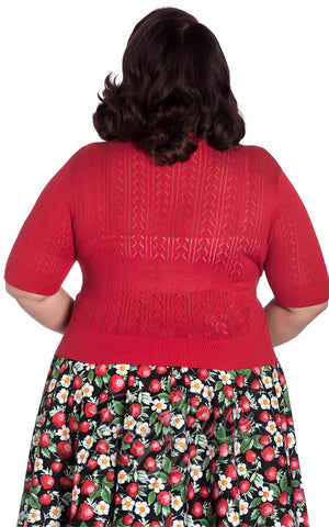 Hell Bunny Loretta Cardigan in Red back curvy back
