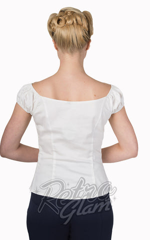 Banned Winnie peasant Top in White with sweetheart neckline and gathered bust back