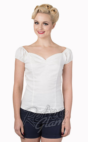 Banned Winnie peasant Top in White with sweetheart neckline and gathered bust front