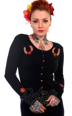 Banned black Lucky Horseshoe Cardigan with horseshoe appliques front