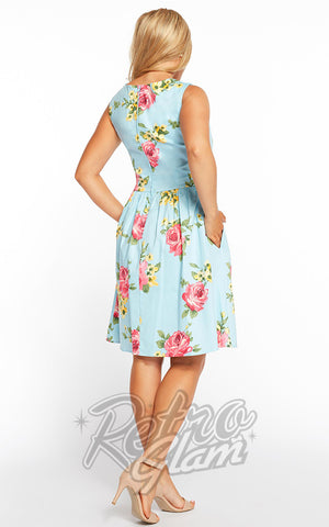 Eva Rose Sweetheart Mini Dress in Blue Floral Back