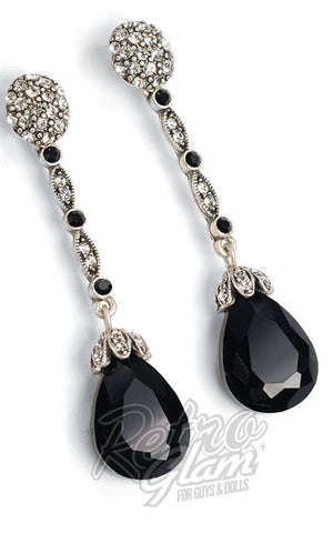 sweet romance retro tear drop crystal earrings in black
