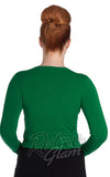 Hell Bunny Paloma Cardigan in Green Back