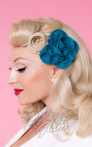 heart of haute teal hair flower with netting details