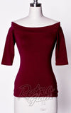 Heart of Haute Monroe off shoulder Top in Burgundy with 3/4 sleeves front