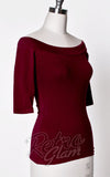 Heart of Haute Monroe off shoulder Top in Burgundy with 3/4 sleeves side