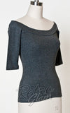 Heart of Haute off shoulder Monroe Top in Heather Grey with 3/4 sleeves side