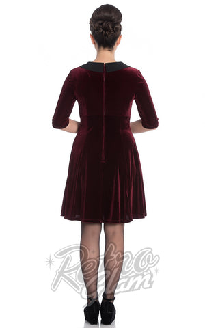 Hell Bunny Merrily Mini Dress in Burgundy Back