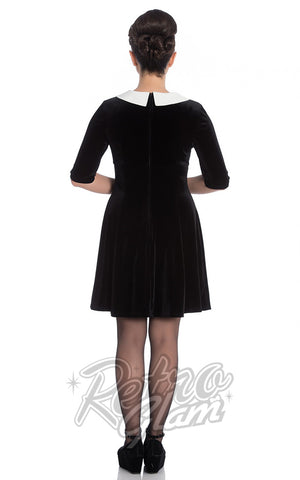 Hell Bunny Snowy Mini Dress in Black Back