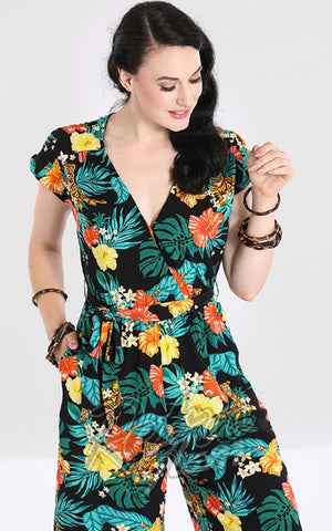 Hell Bunny Bali Jumpsuit tiger