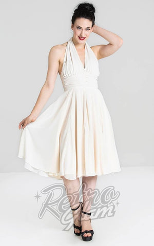 Hell Bunny Marilyn Monroe Dress in Cream