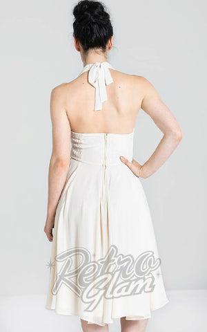 Hell Bunny Marilyn Monroe Dress in Cream back