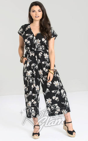 Hell Bunny Pineapple Sagano Jumpsuit in Flower & Skull Print