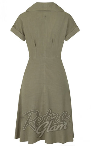 Hell Bunny Sahara Dress in Khaki back