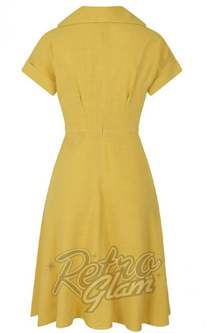 Hell Bunny Sahara 50's Dress in Yellow back