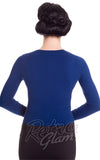 Hell Bunny Paloma Cardigan in Navy Back