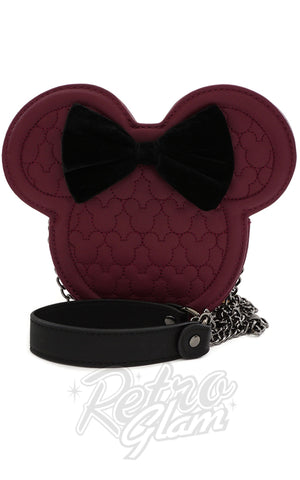 Loungefly x Disney Minnie Mouse Head Maroon Quilted Crossbody Bag
