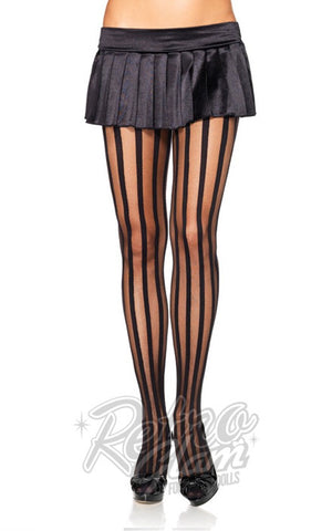 Leg Avenue Sheer Pantyhose With Vertical Stripes