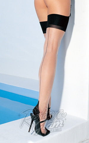 Spandex Contrast Color Cuban Heel Backseam Stockings Plus Size