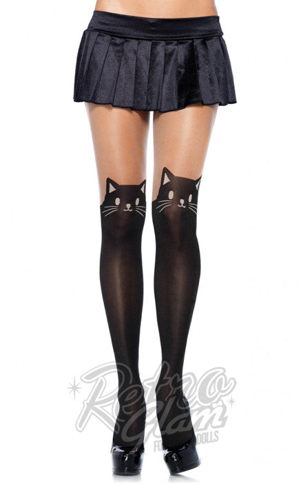 Leg Avenue 7908 Black Cat Opaque Pantyhose with Sheer Thigh Accent