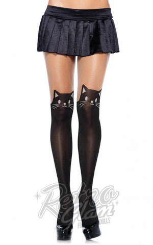 Leg Avenue Spandex Black Cat Opaque Pantyhose