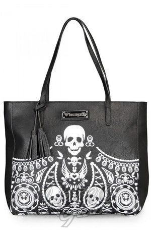 Loungefly Embossed Bandana Skull Tote With Tassels front