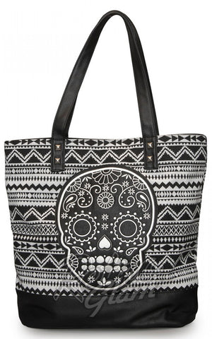 Loungefly White/Black Canvas Tote with Skull Applique front